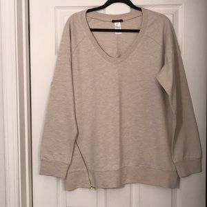 NWOT Mark beige sweatshirt with angled zipper!